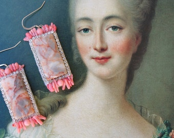 Simple Redline Marble + Coral Statement Earrings; Pastel Pink Statement Earrings, Pink Marie Antoinette earrings; Rococo earrings; Coral
