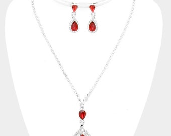 RHINESTONE PAVE TRIM Crystals  Teardrops  Dangele Necklaces