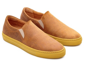 Leather Flats, Camel Suede Leather, Custom Canvas Shoes, Slipons Sneakers Canvas, Custom Canvas Shoes