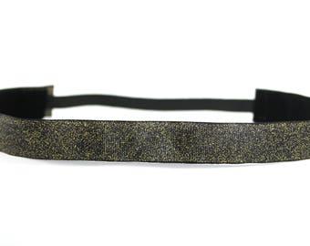 Gold Glitter on Black Nonslip Headband, Bachelorette Party Favor, Running Accessory, Gift for Her, Fitness Accessory, CrossFit Headband