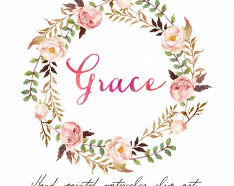 Watercolor Floral wreath-Grace /Individual PNG files / Hand Painted