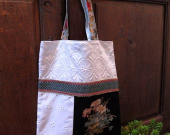 Tote bag, tote bag Baboushka lace inspired Russian Blue