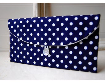 Navy Blue, Polka Dot , Clutch Purse, Navy Bridesmaid Clutch, bridesmaid gift, blue white purse, Wedding Gift, bridal clutch, wedding clutch,