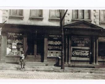 Drugstore bw Photograph Antique Vintage Richmond Virginia Gilkeson Bros Advertising Coca Cola History Shop Display Window c. 1920s