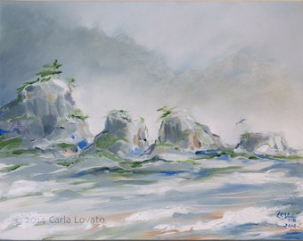 Ocean Seascape Original Oil painting on canvas Siletz Bay Oregon coast