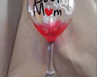 Disney/Mother's Day/Mickey/Wine Glass/Best Mom/Gift