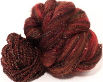 Jasper -(4 oz.)Custom blended top-Zwartbles / Silk/ Alpaca/Gold Stellina ( 45/25/25/5 )