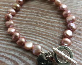 Pearl Bracelet Pink Fresh Water Pearls with toggle clasp UK made