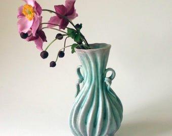 Copper green carved porcelain vase with handles, pink blush