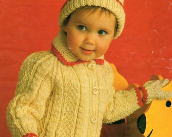 Aran Jacket, Hat And Mittens, Knitting Pattern. PDF Instant Download.