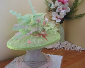 Bright Green Derby Hat, Medium Brim, Light weight, Summer Hat, Spring Green Pink and Yellow, Church hat, Wedding hat, Ash Tree Meadow Hat