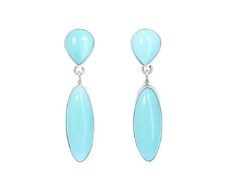 40% Off Earring Sale : ) MEXICAN TURQUOISE Earrings Robins Egg Blue Sterling 2 Stone NewWorldGems