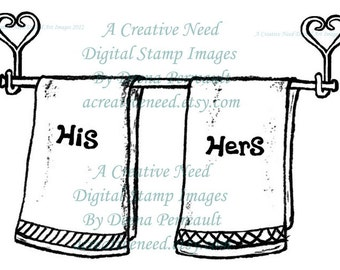 INSTANT Download His and Hers Towels, Digital Stamp Image, for Cardmaking, Scrapbooking, ATCs, Mixed media,