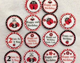 Set of 50/100/150/200 Personalized Ladybug 2nd Birthday Party  1 Inch Confetti Circles