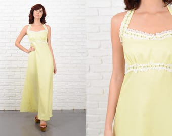 Vintage 70s Yellow Backless Halter Dress Boho Lace Floral Embroidered XS 10684