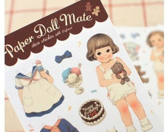 Korea Sticker Set - 6 Sheets Girl doll transparent sticker group outfit-- paper doll mate stickers - AKS0355