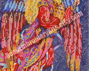 Guardian Angel beaded stitching, bead embroidery, beading on needlepoint kit, DIY beadpoint craft set