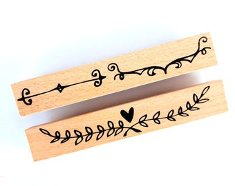 Set of 2 wood rubber border stamps   doodles   leaves   hearts