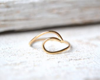 Gold Wave Ring- Surf Ring, Beach Ring, Ocean Wave Ring, Wave Gold Ring, Wave Ring Gold, Wave Ring In Gold, Yellow Gold Wave Ring