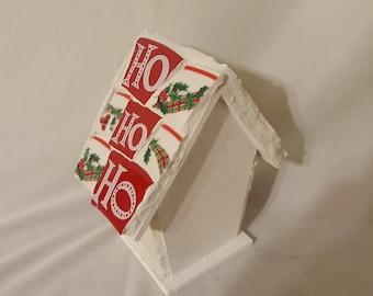 Mosaic red and white Christmas birdhouse with Santa and Ho, Ho, Ho