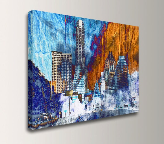 Austin Texas Wall Decor State Capitol Canvas Print Urban Skyline Art Mixed Media Collage Digital Print Blue and Texas Orange Austin Daybreak