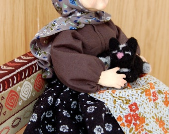 Art Doll Old Lady with Cat