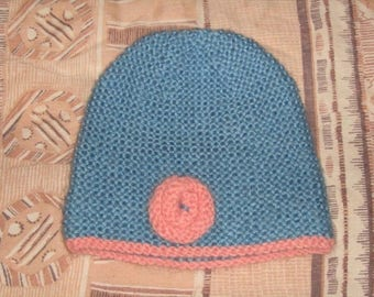 Hand knitted beanie blue and pink