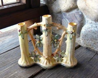 Weller Woodcraft Pottery Triple Bud Vase, Antique Pottery, Vintage 1920s, Flower and Tree Motif, Cottage Chic