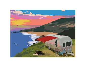 """Coastal Camping, 9""""x 12"""" limited edition archival Giclee print"""