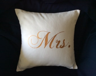 Handmade pillow- gold mrs