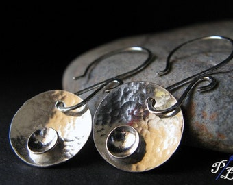 Modern disc earrings sterling silver jewelry.  Artisan handmade quality shiny stacked dimensional discs. Gift for her.  Moon Eclipse.