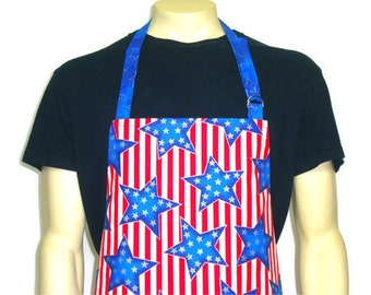 American Flag Apron / Professional Chef Apron with Stars / Stars and Stripes , Adjustable with pocket , Red White and Blue