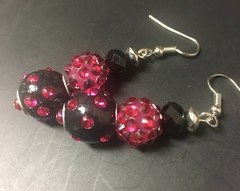 Pink and Black Sparkle Earrings