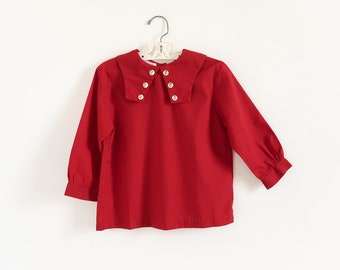 "Vintage 1960s 70s Girls Size 7 Top, Sears Brick Red Blouse Three Quarter Sleeves Pilgrim Collar, b30"" L18"""