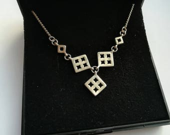 Square charm necklace, sterling silver necklaces, Vintage square necklace, silver jewellery