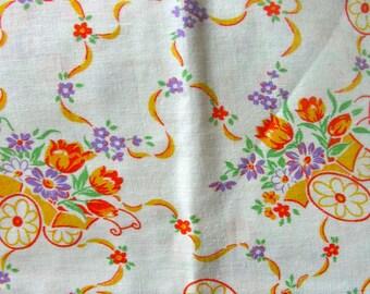 Vintage Novelty Full FEEDSACK - STILLaSack -  PRETTY YELLOW, Lavender & Orange Flowers Carts on White Background