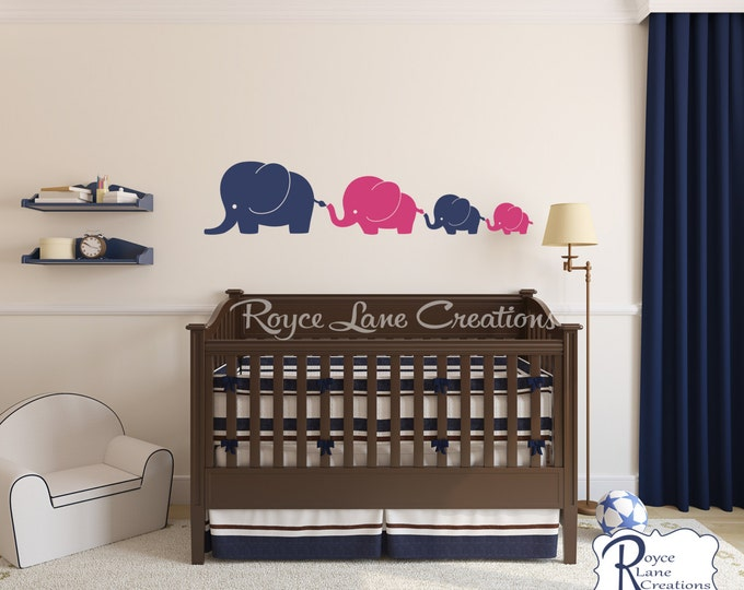 Nursery Decals- Elephant Family 4 Elephants Decal, Nursery Elephant Wall Decal, Baby Boy or Baby Girl Wall Decal- Nursery Wall Decals