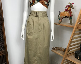 Vtg 80s khaki cotton safari military pencil high waisted avant garde minimalsit skirt