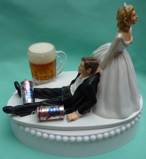Wedding Cake Topper Pabst Blue Ribbon PBR Beer Mug Cans - Beer Can Wedding Cake