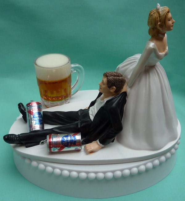 funny wedding cake decorations wedding cake topper pabst blue ribbon pbr mug cans 4427