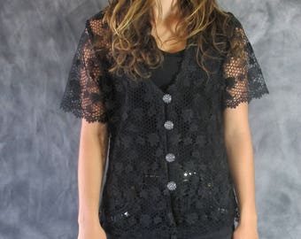 Vtg 90s Sheer Black Crochet Lace Front Festival Vintage Top Vintage Jacket