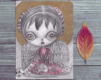 original graphite illustration creepy cute angel skulls gold wall art collectible