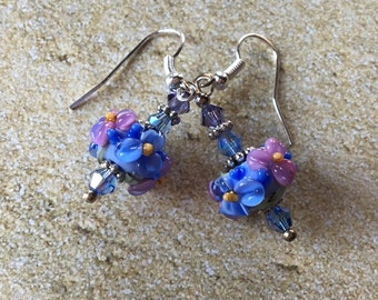 Flower Lampwork Earrings/Periwinkle and Lavender Flowers, Floral Earrings, Lampwork Jewelry, Gift For Her