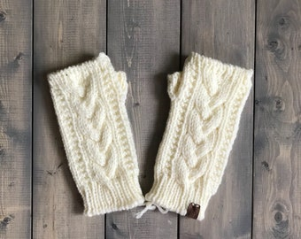 Adult 'Trinity' Knit Fingerless Gloves - Cream