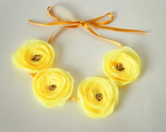 Necklace fabric Flowers Yellow chocolate brown beads