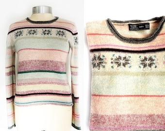 SALE Vintage Winter Wool Sweater,Snowflake Sweater Women's Small-Medium Size, Zara Wool Pullover,Embroidered Beaded sweater.