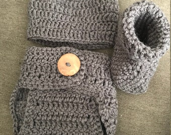 Baby hat, diaper cover, and booties