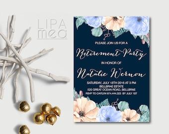 Floral Retirement Invitation Printable, Retirement Party Invitation, Navy Retirement Invitation, Anemone Invitation, Digital File