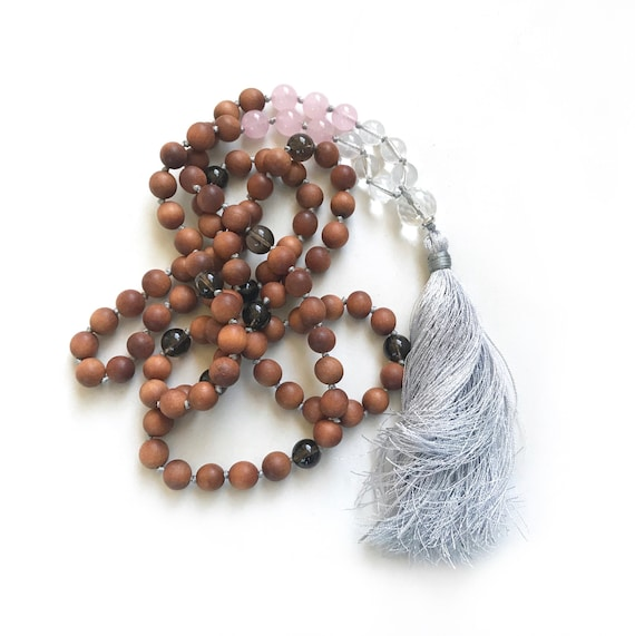 Love and Patience Mala Beads, Mala Of Unconditional Love, Rose Quartz And Clear Quartz Mala Necklace,  Sandalwood Mala Beads, Yoga Mala
