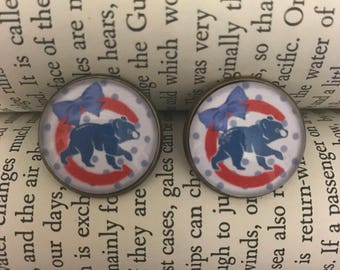 Chicago Cubs Baseball Vintage Inspired Earring Studs
